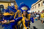 Colourful pretty woman. Carnival. Mindelo. Cabo Verde. Africa.