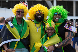 London, 2017-August-05. A group of Jamaica supporters arrive for the evening session at the London Stadium where Usain Bolt will be competing for glory in the Men's 100 metres semi final and, possibly the final at the IAAF World Championships London 2017. ©Paul Davey.