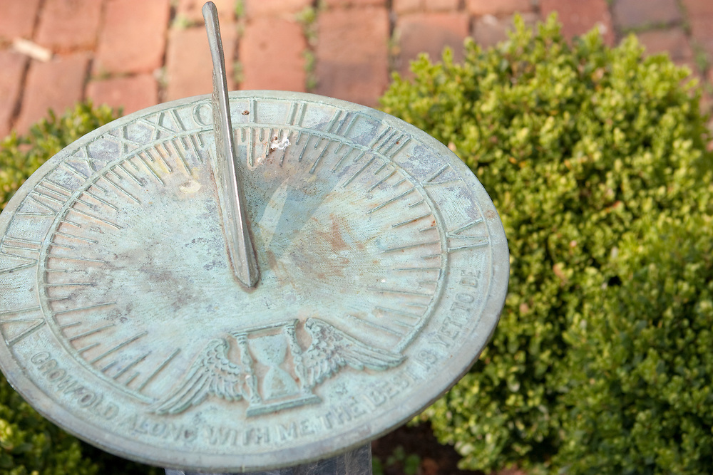 Sundial in the garden on the grounds of Ash Lawn Highland, home of President James Monroe.