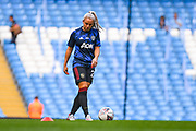 Manchester United Women defender Kirsty Smith (20) warming up during the FA Women's Super League match between Manchester City Women and Manchester United Women at the Sport City Academy Stadium, Manchester, United Kingdom on 7 September 2019.