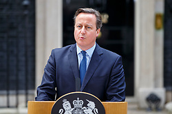 "© Licensed to London News Pictures. 13/11/2015. London, UK. Prime Minister David Cameron giving a statement in Downing Street on British-born ISIS terrorist Mohammed Emwazi, dubbed as ""Jihadi John"", after he was reportedly killed in a US drone strike. Photo credit: Tolga Akmen/LNP"