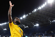 Odsonne Edouard of Celtic greets the supporters at the end of the UEFA Europa League, Group E football match between SS Lazio and Celtic FC on November 7, 2019 at Stadio Olimpico in Rome, Italy - Photo Federico Proietti / ProSportsImages / DPPI