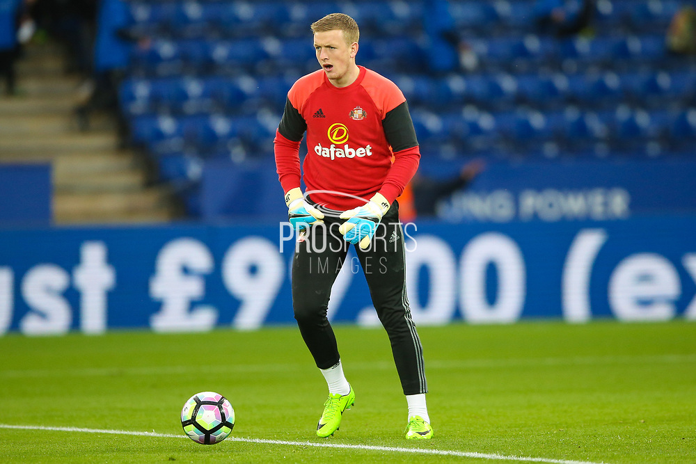Sunderland goalkeeper Jordan Pickford (13) warming up  during the Premier League match between Leicester City and Sunderland at the King Power Stadium, Leicester, England on 4 April 2017. Photo by Simon Davies.