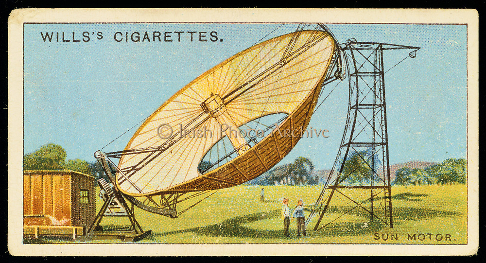 Aubrey Eneas's of Boston solar motor. Demonstrated at Edwin Cawston's ostrich far Pasadena, California. A reflector 33 feet (10.05 metres) in diameter lined with 1,788 mirrrors focused on a boiler producing steam to power a pump raising 1,400 gallons (6364.5 litres) of water per minute. Liebig trade card c1910. Chromolithograph.
