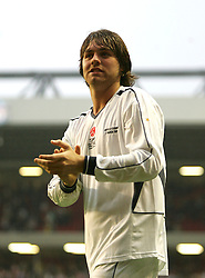 LIVERPOOL, ENGLAND - SUNDAY MARCH 27th 2005: Celebrity XI's Brian McFadden during the Tsunami Soccer Aid match at Anfield. (Pic by David Rawcliffe/Propaganda)