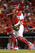 29 June 2010: St. Louis Cardinals catcher Yadier Molina (4) walks to the mound for a conference during a game against the Arizona Diamondbacks  at Busch Stadium in St. Louis, Missouri. The Cardinals would win 8-0 over Arizona...