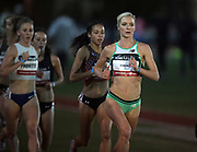 May 16, 2019; Los Angeles, CA, CA, USA; Emma Coburn leads the women's 5,000m during the USATF Distance Classic at Occidental College.