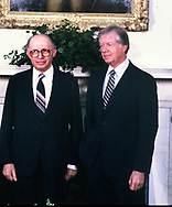 Menachem Begin and Presdent Jimmy Carter in the Oval Office of the White House in November 1980<br /> Photo by Dennis Brack