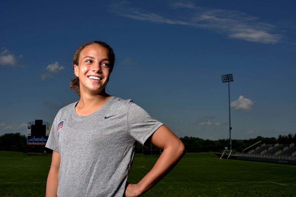 Boyd, Maryland - May 31, 2017: Washington Spirit soccer player Mallory Pugh at the Maryland SoccerPlex in Boyd, Md., Wednesday May 31, 2017. <br /> <br /> Mallory Pugh, a rookie forward with the Washington Spirit, is the best young soccer player in America. <br /> <br /> <br /> CREDIT: Matt Roth for The New York Times<br /> Assignment ID: 30207020A