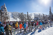 Skiers line up for the one open run at Heavenly Ski Resort on opening day in South Lake Tahoe, California, November 23, 2013. While natural snow is still scarce, some resorts like Heavenly, are able to open before the Thanksgiving holiday by blowing artificial snow.