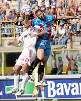 """Andrea Pirlo (Milan) Cristian Silvestri (Catania)<br /> Italian """"Serie A"""" 2006-07 <br /> 13 May 2007 (Match Day 36)<br /> Catania-Milan (1-1)<br /> """"Renato Dall'Ara"""" Stadium-Bologna-Italy<br /> Photographer Luca Pagliaricci INSIDE"""