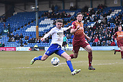 Bury Forward, Ryan Lowe unleashes a shot in the box during the Sky Bet League 1 match between Bury and Bradford City at the JD Stadium, Bury, England on 5 March 2016. Photo by Mark Pollitt.