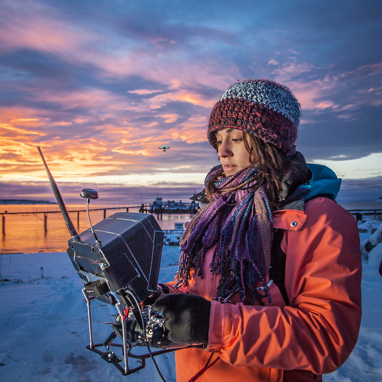 Hailey Driver of Sky Picture Films operates a remote camera suspended below a remote control helicopter at the small boat launch near Ship Creek, Anchorage        h.driver907@gmail.com