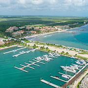 Aerial view of the Marina El Cid. Riviera Maya. Mexico