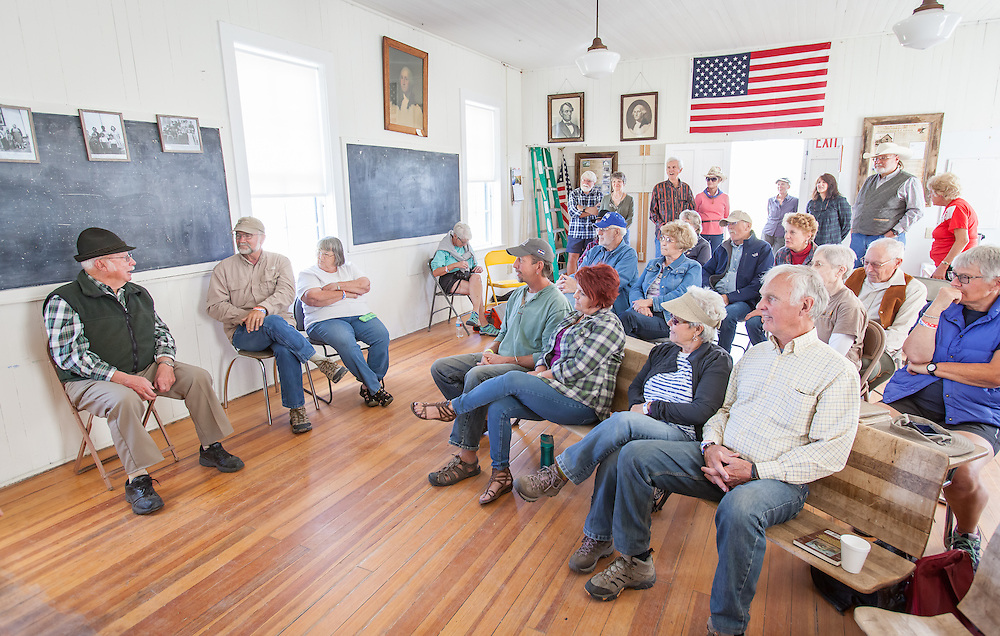 Willdra Ruzanski, her daughter Sudsy and John Brandenburg, with his wife, Sally, entertain visitors to the Historic Willows School during the Wet Mountain Western Pilgrimage.