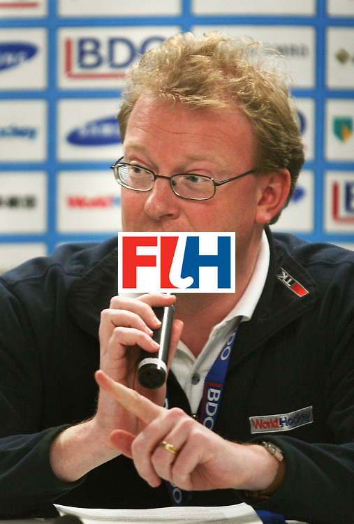 Kakamigahara (Japan): Arjen Meijer, FIH communication Manager during a press briefing over the protest given by Malaysian team management to the jury regarding the controversial equaliser goal scored by Japan in the Olympic Hockey Qualifier at Gifu Perfectural Green Stadium at Kakamigahara on 12 April 2008.  Photo: GNN/ Vino John