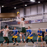 1st year setter Jake Fleming (1) of the Regina Cougars in action during Men's Volleyball home game on February 3 at Centre for Kinesiology, Health and Sport. Credit: Arthur Ward/Arthur Images