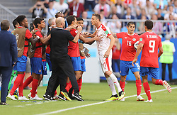 SAMARA, June 17, 2018  Nemanja Matic (3rd R) of Serbia clashes with team members of Costa Rica during a group E match between Costa Rica and Serbia at the 2018 FIFA World Cup in Samara, Russia, June 17, 2018. (Credit Image: © Fei Maohua/Xinhua via ZUMA Wire)
