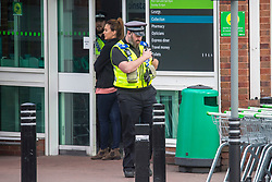 © Licensed to London News Pictures. 27/03/2019. Leeds, UK. Police on the scene at the Killingbeck ASDA shop on York road in Leeds this morning where it is believed a man walked in the shop & stabbed himself, Police where called to the shop at 5:57am this morning where a man was found with serious injuries & was taken to hospital. Police have said they are satisfied this has been a self-harm incident with no other person involved & there are no suspicious circumstances. Photo credit: Andrew McCaren/LNP