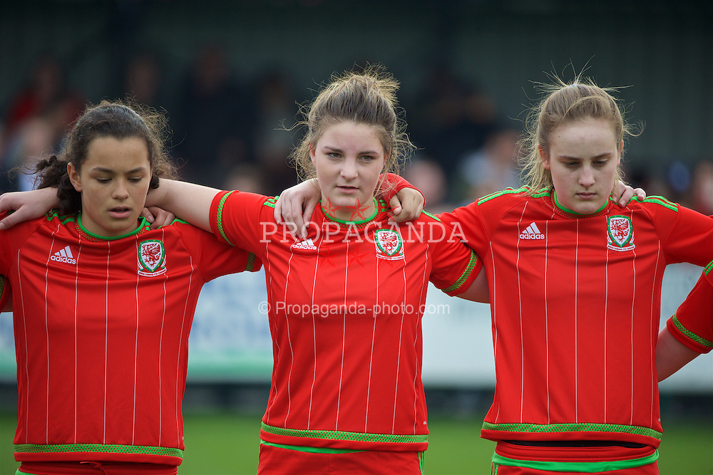 NEWPORT, WALES - Sunday, April 3, 2016: Wales' Grace Horrell, Alice Griffiths and Anna Morphet line-up before the game against Northern Ireland on Day 3 of the Bob Docherty International Tournament 2016 at Dragon Park. (Pic by David Rawcliffe/Propaganda)
