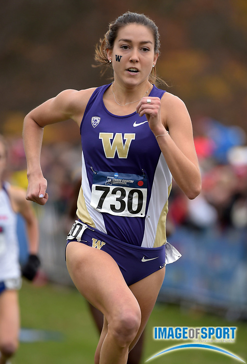 Nov 21, 2015; Louisville, KY, USA; Maddie Meyers of Washington places eighth in the womens race in 20:03 during the 2015 NCAA cross country championships at Tom Sawyer Park.
