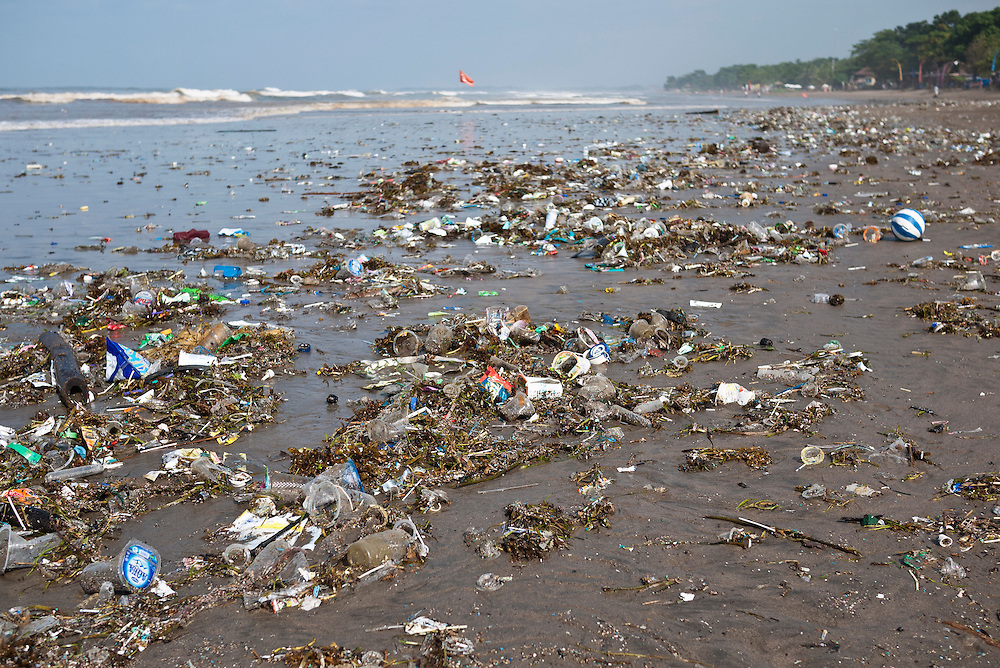 Plastic waste and rubbish on Kuta Beach, Bali, Indonesia.