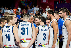 Igor Kokoskov, coach of Slovenia with Jaka Blazic of Slovenia, Luka Doncic of Slovenia, Vlatko Cancar of Slovenia, Goran Dragic of Slovenia, Sasa Zagorac of Slovenia, Gasper Vidmar of Slovenia during basketball match between National Teams of Slovenia and Latvia at Day 13 in Round of 16 of the FIBA EuroBasket 2017 at Sinan Erdem Dome in Istanbul, Turkey on September 12, 2017. Photo by Vid Ponikvar / Sportida