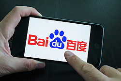 Baidu website logo showing on iPhone 6 Plus smart phone