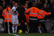 Wayne Rooney of Manchester United attempts to take a corner in front of the Crystal Palace fans during the Barclays Premier League match at Selhurst Park, London<br /> Picture by David Horn/Focus Images Ltd +44 7545 970036<br /> 22/02/2014