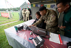 UK ENGLAND 29JUL17 - SportIdent and Gurkha staff at the finish line on Brighton Racecourse after the Trailwalker 2017 challenge across the South Downs, England.<br /> <br /> jre/Photo by Jiri Rezac<br /> <br /> © Jiri Rezac 2017