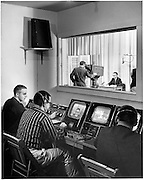 WOUB studio inside Ohio University Radio and Television Building. Cover for Ohio Alumnus March 1959
