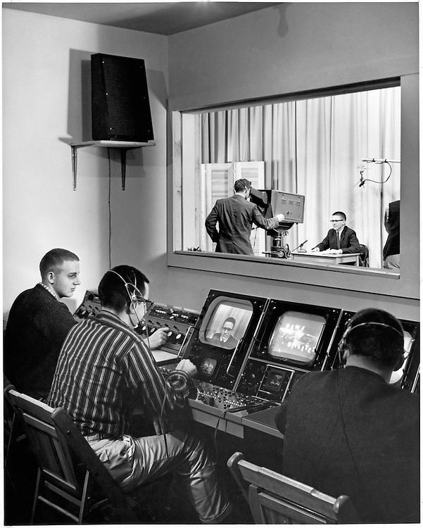 WOUB studio inside Ohio University Radio and Television Building. Cover for Ohio Alumnus March 1959