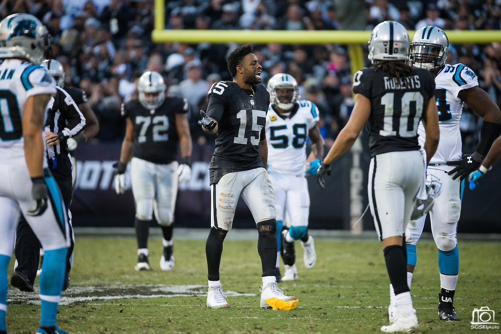 Oakland Raiders wide receiver Michael Crabtree (15) celebrates making a catch in the fourth quarter against the Carolina Panthers at Oakland Coliseum in Oakland, Calif., on November 27, 2016. (Stan Olszewski/Special to S.F. Examiner)
