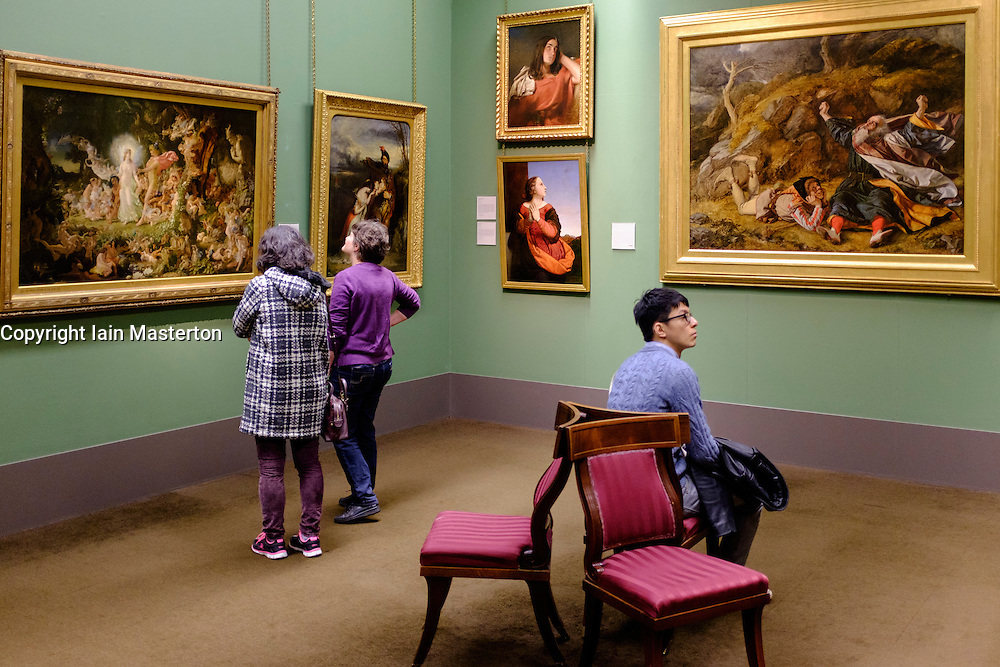 Interior of Scottish National Gallery art museum in Edinburgh Scotland United Kingdom