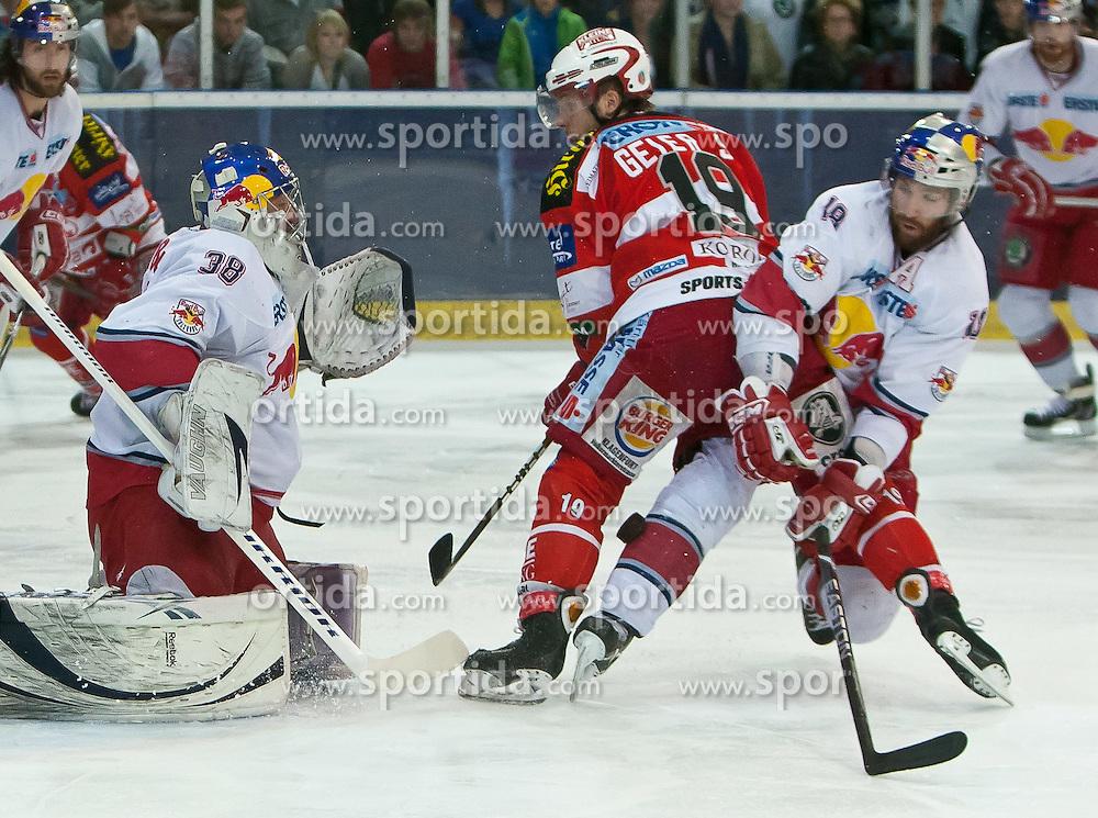 07.04.2011, Volksgarten Arena, Salzburg, AUT, EBEL, FINALE, EC RED BULL SALZBURG vs EC KAC, im Bild Reinhard Divis, (EC RED BULL SALZBURG, #38), Stefan Geier, (EC KAC, #19) ,Daniel Bois, (EC RED BULL SALZBURG, #18) // during the EBEL Eishockey Final, EC RED BULL SALZBURG vs EC KAC at the Volksgarten Arena, Salzburg, 2011-04-07, EXPA Pictures © 2011, PhotoCredit: EXPA/ J. Feichter