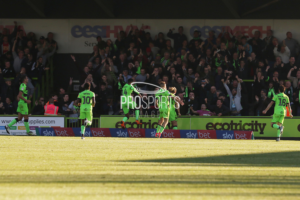 FGRFC celebrate their goal during the EFL Sky Bet League 2 match between Forest Green Rovers and Cheltenham Town at the New Lawn, Forest Green, United Kingdom on 20 October 2018.
