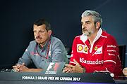 June 8-11, 2017: Canadian Grand Prix. Maurizio Arrivabene, team principal of Scuderia Ferrari, Guenther Steiner, Haas F1 Team Principle