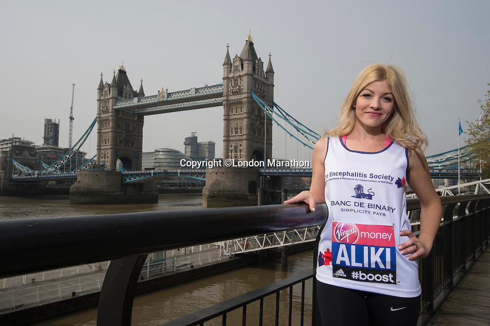 Virgin Money London Marathon 2015<br /> <br /> Aliki Chrysochou from Cyprus (Soprano who featured in Britains got Talent) one of the celebrities  competing in the IVirgin Money London Marathon<br /> <br /> Photo: Bob Martin for Virgin Money London Marathon<br /> <br /> This photograph is supplied free to use by London Marathon/Virgin Money.