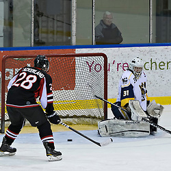 Whitby, ON - Jan 26 : Ontario Junior Hockey League Game Action between the Whitby Fury Hockey Club & Pickering Panthers Hockey Club, Tyler Feaver 31 of the Whitby Fury Hockey Club makes the save, Keegan Ackerland #28 of the Pickering Panthers Hockey Club<br /> (Photo by Dave Powers / OJHL Images)