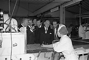 17/04/1963<br /> 04/17/1963<br /> 17 April 1963<br /> Lord Mayor of Birmingham visits Fry-Cadbury factory, Colock, Malahide Road, Dublin. Image shows: Lord Mayor of Dublin J.J. O'Keefe; Arthur Lyle and Raymond Sellers Joint  Managing Directors; Lord Mayor of Birmingham Ernst Horton and Richard Godsil Joint Managing Director, examine the manufactutring process during the tour.