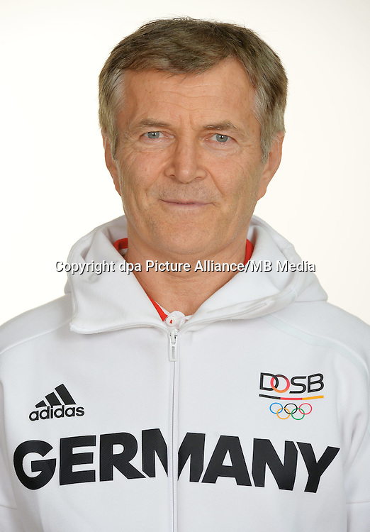 Reinhold Roth poses at a photocall during the preparations for the Olympic Games in Rio at the Emmich Cambrai Barracks in Hanover, Germany. July 27, 2016. Photo credit: Frank May/ picture alliance. | usage worldwide