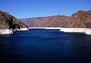 Water storage lake,  Hoover dam on the Colorado River, Nevada and Arizona border, USA