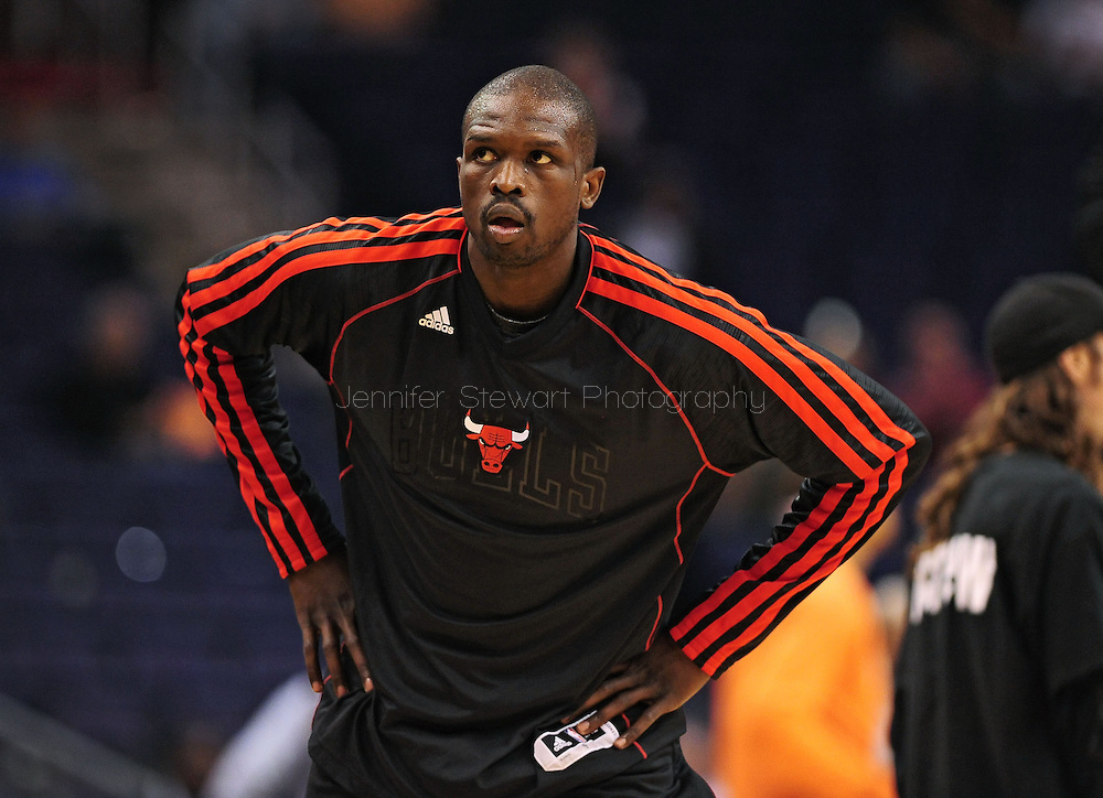 Nov. 14, 2012; Phoenix, AZ, USA; Chicago Bulls forward Luol Deng (9) warms up prior to the game against the Phoenix Suns at the US Airways Center.  The Bulls defeated the Suns 112-106 in overtime. Mandatory Credit: Jennifer Stewart-USA TODAY Sports.