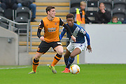 Hull City defender Andrew Robertson and Demarai Gray of Birmingham city during the Sky Bet Championship match between Hull City and Birmingham City at the KC Stadium, Kingston upon Hull, England on 24 October 2015. Photo by Ian Lyall.