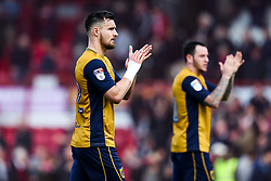 Bailey Wright of Bristol City thanks the fans for travelling after Brentford win 2-0 - Rogan Thomson/JMP - 01/04/2017 - FOOTBALL - Griffin Park - Brentford, England - Brentford v Bristol City - Sky Bet EFL Championship.