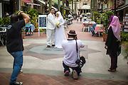17 DECEMBER 2012 - SINGAPORE, SINGAPORE: A couple poses for their wedding photos on Arab Street in Singapore.       PHOTO BY JACK KURTZ