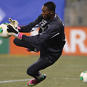 Goal keeper Alexander Dominguez, Ecuador, in action during warm up before the Argentina Vs Ecuador International friendly football match at MetLife Stadium, New Jersey. USA. 15th November 2013. Photo Tim Clayton