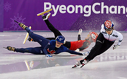 February 17, 2018 - Gangneung, South Korea - Short track speed skater Jinyu Li of China crashes into Elise Christie of Great Britain during the Ladies's Short Track Speed Skating 1500M semifinals as Minjeong Choi of Korea wins at the PyeongChang 2018 Winter Olympic Games at Gangneung Ice Arena on Saturday February 17, 2018. (Credit Image: © Paul Kitagaki Jr. via ZUMA Wire)