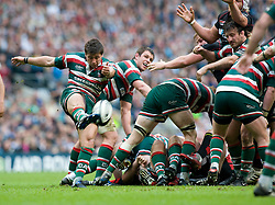 Leicester Tigers Scrum Half Ben Youngs kicks during the Guinness Premiership final 2010 between Leicester Tigers and Saracens at Twickenham Stadium, London, England. May 29th, 2010. .