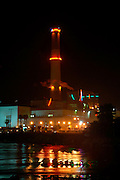 Israel, Tel Aviv, Night shot of the Reading power plant on the bank of the Yarkon river in northern Tel Aviv